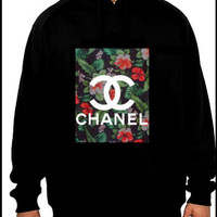 Chanel inspired tropical logo hoodie M/L