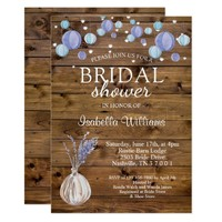 Rustic Laterns String Lights Floral Bridal Shower Card