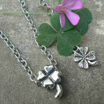 Lucky Lady Four Leaf Clover Hearts Necklace Sliding Shamrock Slider Bead Simple Everyday Jewelry