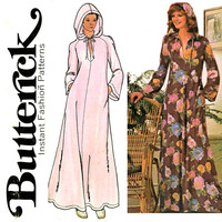 1970s Caftan Pattern Bust 34 36 Butterick 4513 Hooded Caftan, Evening Length Pullover Robe, Hoodie Maxi Dress Womens Vintage Sewing Patterns