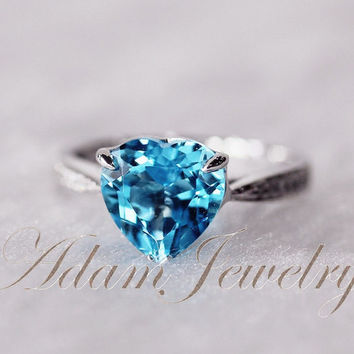 Romantic Heart Shaped 8mm Blue Topaz Ring H/SI Diamonds Pave 14K White Gold Engagement Ring/ Wedding Ring/ Promise Ring/ Anniversary Ring