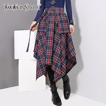 TWOTWINSTYLE Plaid Sashes Skirt For Women High Waist Patchwork Asymmetrical Skirts Female Spring Fashion Vintage Clothing