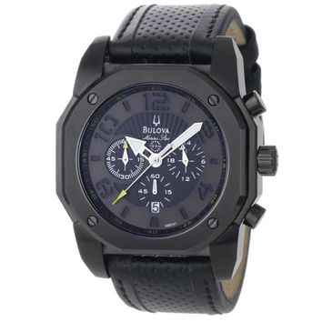 Bulova 98B151 Men's Marine Star Black Dial Leather Strap Chronograph Watch