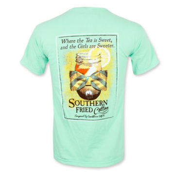 Southern Fried Cotton Sweet Tee Girls Pocket T-Shirt - Island Reef Green