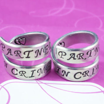 Partners in Crime - Spiral Rings Set, Hand Stamped, Shiny Aluminum, Friendship, BFF Gift, Script Font