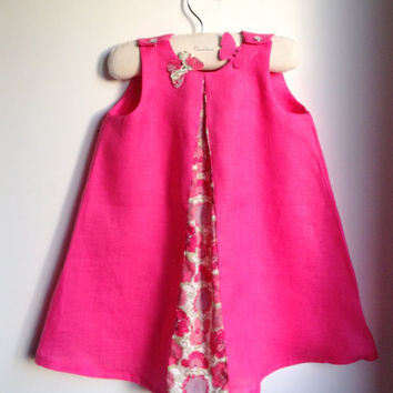 Girls Dress  - French Style Dress - Summer Dress - Dress and matching butterfly hair clip set