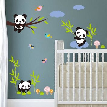 Cute panda Tree bamboo Birds White Clouds wall stickers For Kids Rooms Nursery Room decor diy art decals pvc wall sticker