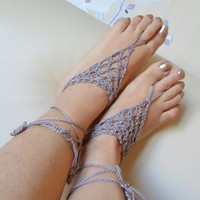 Beige Barefoot Sandal, Foot jewelry, Mink beige, Yoga, Anklet , Bellydance, Steampunk, Beach Pool, Wedding, Sexy.