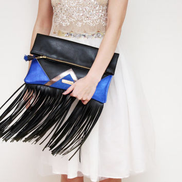CARRIER 47 / Large leather fringed fold over daily clutch bag - Ready to Ship
