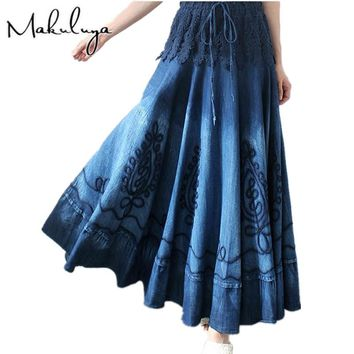 Makuluya summer autumn women's lace stitching Vintage Ethnic Embroidery Bohemian Spliced blue Denim long pleated Skirts female 0