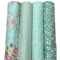 iOffer: 4 pcs 100% Cotton Fabric Green 40cm x 50cm for sale
