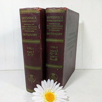 Britannica World Language Edition of Funk & Wagnalls New Practical Standard Dictionary Set of 2 Books Vol. 1 and 2 with Parts I, II, and III