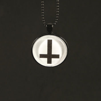 Inverted Cross Necklace - Hail Satan - Horror - Photo Jewelry