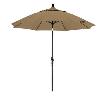 9 Foot Sunbrella 4A Fabric Fiberglass Rib Crank Lift Collar Tilt Aluminum Patio Umbrella with Black Pole