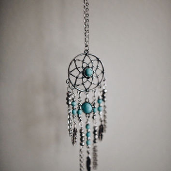 Dreamcatcher Necklace Jewellery - Tumblr Turquoise Silver Hanging Womens Jewelry Choker Bohemian Boho Hippie Hipster Fashion Christmas Gift