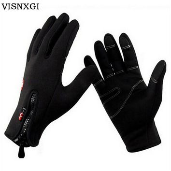 VISNXGI 2018 Women Gloves Unisex Mittens Windproof Gloves With Leather Zipper Tactical Guante For Men Winter Warm Guantes G097