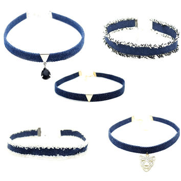 2017 New Denim choker Necklace  Tattoo chockers jewelry