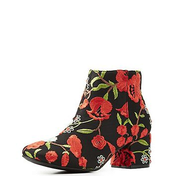 Qupid Floral Brocade Ankle Booties