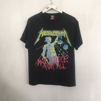 Metallica shirt 1994 vintage t shirt band t-shirts 90s vintage band shirts heavy metal clothing Justice For All rock tshirt black tee medium