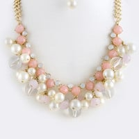MIX FAUX JEWEL BALL BIB NECKLACE SET