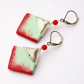 Square mint green earrings with raspberry red edge. Handsculpted of clay and wirewrapped unique jewelry. 2 inches long.