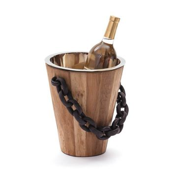Black Chain Wood Ice Bucket