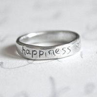sterling silver happiness ring . recycled silver stacking band . unique wedding band ring ready to ship size 7 1/2 by peacesofindigo
