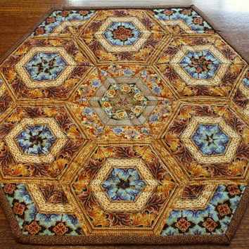 Table Topper, Centerpiece, Pieced Hexagons,Copper, Brown, Turquoise
