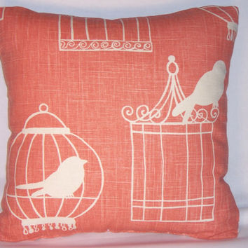 "Coral Birdcage Throw Pillow Duralee Melon 17"" Square Linen Blend Ready Ship Insert Included Orange Peach Aviary Cage Silhouette"