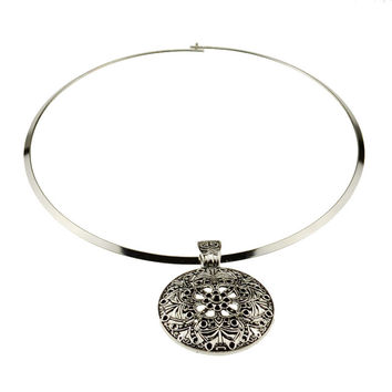 NR145 Bohemian Carved Tibetan Silver Color Torques Choker Vintage necklace Fashion jewelry Christmas Gift for Women