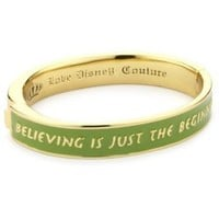 Disney Couture Tinker Belle Gold Plated Hinged Bangle Bracelet with Quote