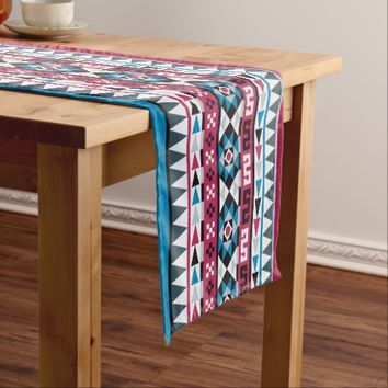 Trendy Aztec Raspberry and Blue Patterned Short Table Runner