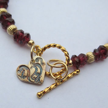 Bracelet of Rhodolite Garnets 14K Gold Filled Beads and Artisan Made Sterling Silver Heart Valentines Day Chic Fashion Jewelry Stunning