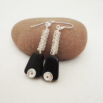 Black Wire Wrapped Earrings, Long Black Earrings, Black Dangle Earrings, Handmade Black Earrings
