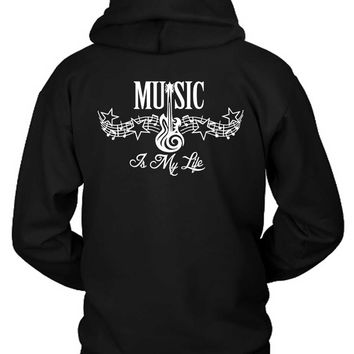 Music Is My Life Tribal Tattoo Hoodie Two Sided