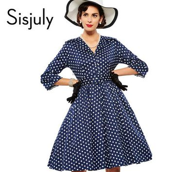 DCCKLG2 Sisjuly women vintage dress polka dot elegant party dress style 1950s