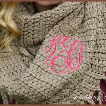 Infinity Monogrammed Scarf - Steel Knit with Fringe - Personalized Circle Script Women's Monogram Initials Chenille Soft Khaki