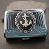 Silver Anchor Cameo Steampunk Cigarette Case