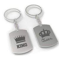 Matching Dog Tag Keychain Set - King and Queen Couple Set