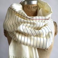 Notebook Paper scarf. College Ruled, Wide Ruled lined paper linen weave pashmina. Perfect teacher, writer, author gift. Silkscreen print.