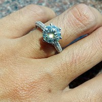 Classic 2 Carat (8 mm) 6 Prong Solitaire Engagement Ring , Silver Pave Set Promise Ring, Man Made Diamond -made to order ( FairyParadise )