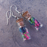 Dried Flower Earrings, Hot Pink Blue Green White, Glass Wish Jar, Small Dried Flowers, Color Enhanced Botanical Jewelry,Dangle Drop Earrings