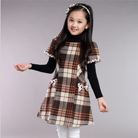 New 2017 Designer Girl Autumn&Winter Style Short Sleeve Cotton Plaid Dress Kids Warm Clothes Baby Children Princess Dresses
