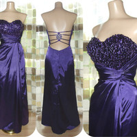 Vintage 80s Royal Purple Sequin Bustier Sweetheart Formal Gown Cage Back Party Cocktail Dress Bombshell Trophy