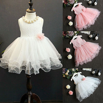 Princess Kids Girls Dress Lace Flower Ball Gown Party Formal Sleeveless Braidmaid Tulle Tutu Girl Dress 2-7Y