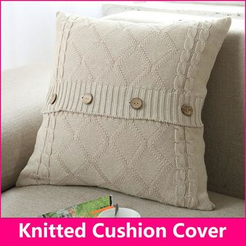 Knitted cushion / Knitted pillow Cotton diamond button pillow decorate pillows 18*18 in(45*45cm)