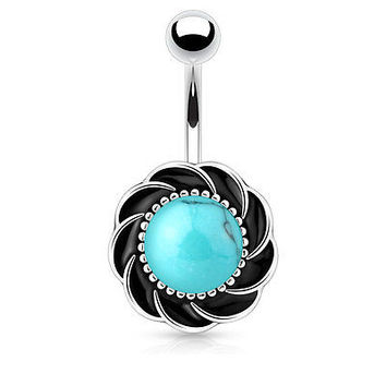 Flower Belly Ring 14ga Surgical Steel Turquoise Navel Ring Body Jewelry
