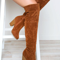 Locklyn Suede Knee High Boots - Tan