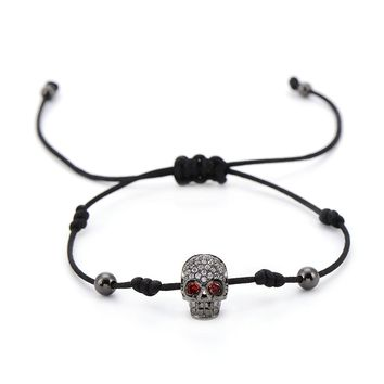 Sparkling CZ Zircon Skull Beads Bracelets & Bangles Braided Men Jewelry
