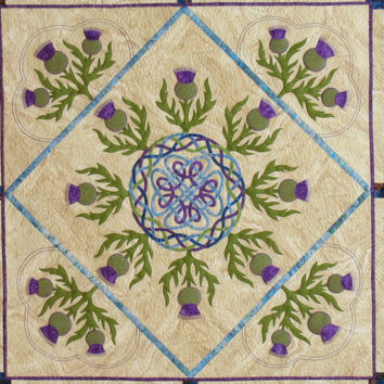 """Handmade art quilt. 59"""" x 59"""" square wall hanging. Scottish themed quilted textile art. The magic of skye."""
